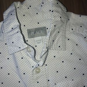 Children's Place Shirts & Tops - Boy's White Printed Poplin Button Down Shirt M 7/8